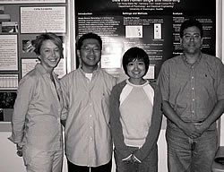 Heather Knapp, Hansang Cho, Marie Ng and David Corina with Marie's poster at the 2004 Undergraduate Honors Festival.