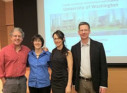 UW Autism Center researchers John Welsh, Wendy Stone, Shanna Alvarez, and Michael Murias present their research at the Autism and the Brain Conference in Portland, Oregon.