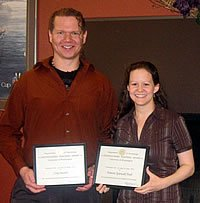 Distinguished Teaching Award for graduate students winners - Cory Secrist and Tamara Spiewak Toub