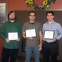 Alcore Fellowship winners - Peter Alderks, Rick Anthony Cruz, Lauren Graham (not pictured), and Alec Scharff