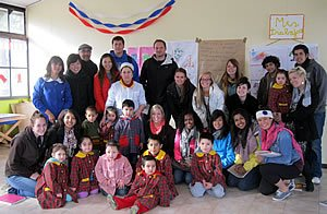 Photo: Jaime Olavarria and his students visit with school children in Coyhaique, in the Patagonia region of Chile.