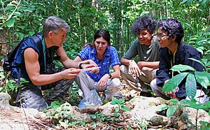 Photo:  Randy Kyes and student researchers conduct field studies on Tinjil Island, Indonesia.